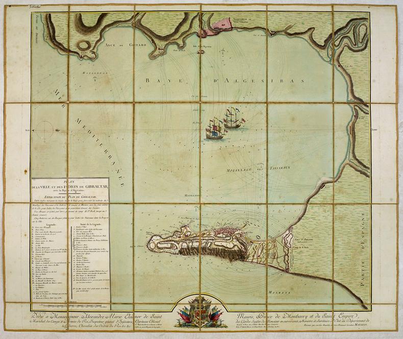 [GIBRALTAR] Plan de la ville et des forts de Gibraltar, avec la baye d'Algesiras.. MAUGEIN (Charles).