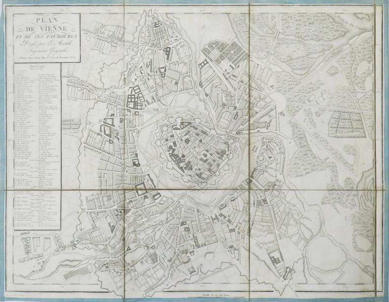 Plan de Vienne et de ses faubourgs.. MENTELLE (Edmé).