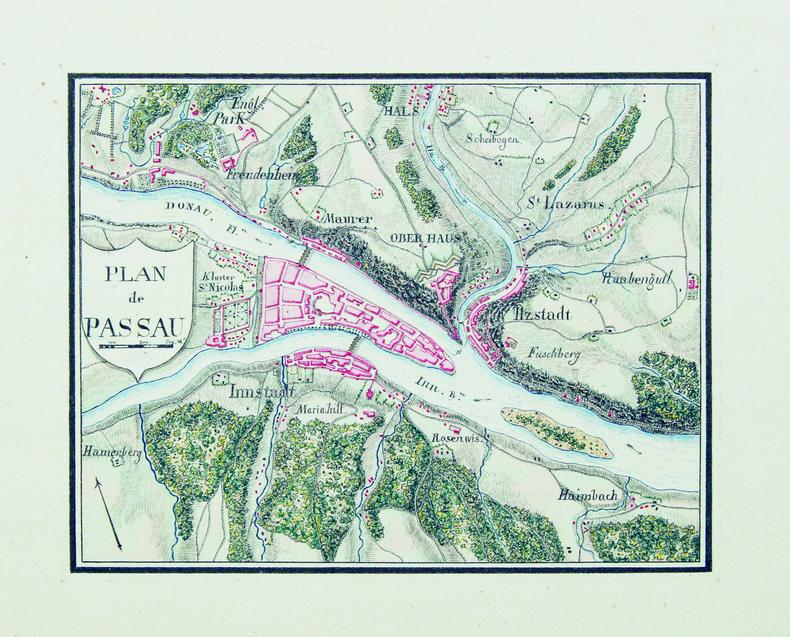 Plan de Passau.. PASSAU. MANUSCRIT.