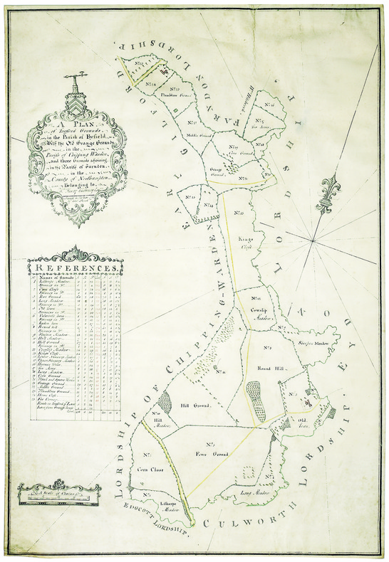 A plan of Trafford grounds in the parish of Byfield, with the old grange grounds; in the parish of Chipping Warden, and three grounds adjoining; in ...