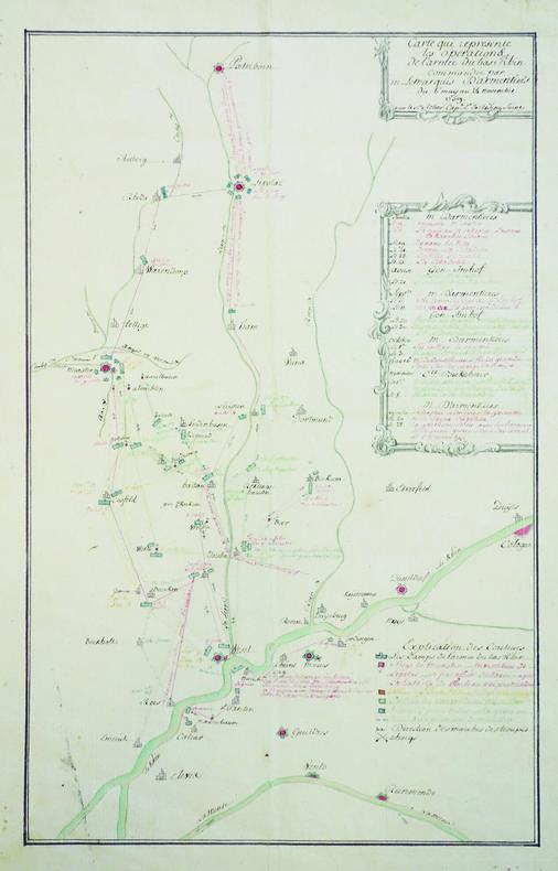 Carte qui représente les opérations de l'armée du bas Rhin commandée par M. le marquis d'Armentières du 6 may au 24 novembre 1759.. REBER (capitaine). ...