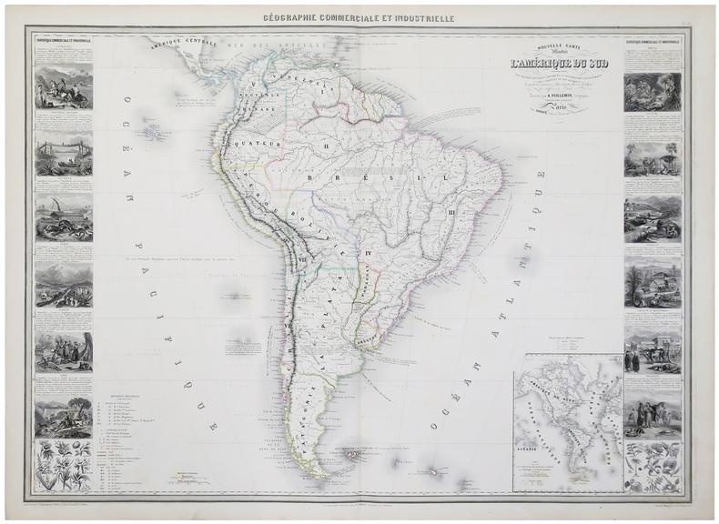 Nouvelle carte illustrée de l'Amérique du Sud indiquant les grandes divisions physiques, la distribution géographique des végétaux et des minéraux, ...