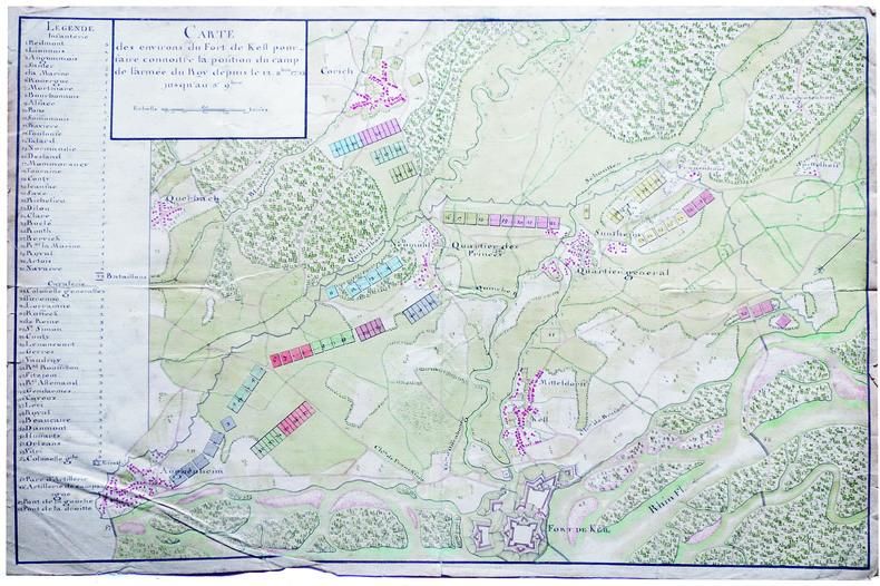 Carte des environs du fort de Kell pour faire connoitre la position du camp de l'armée du roy depuis le 12 8.bre 1733 jusqu'au 3e 9.bre.. KEHL. ...