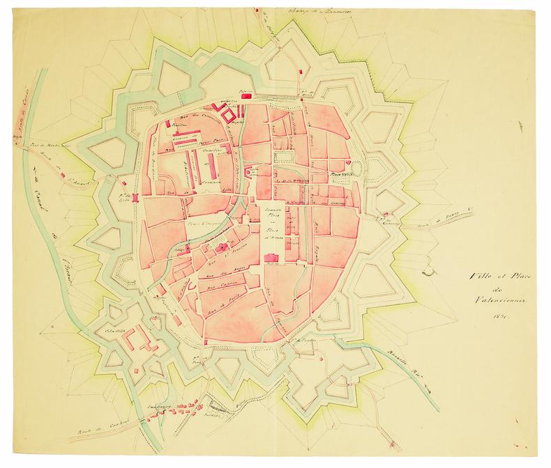 Ville et place de Valenciennes.. DELÉCEY de CHANGEY (Louis-Charles). MANUSCRIT.