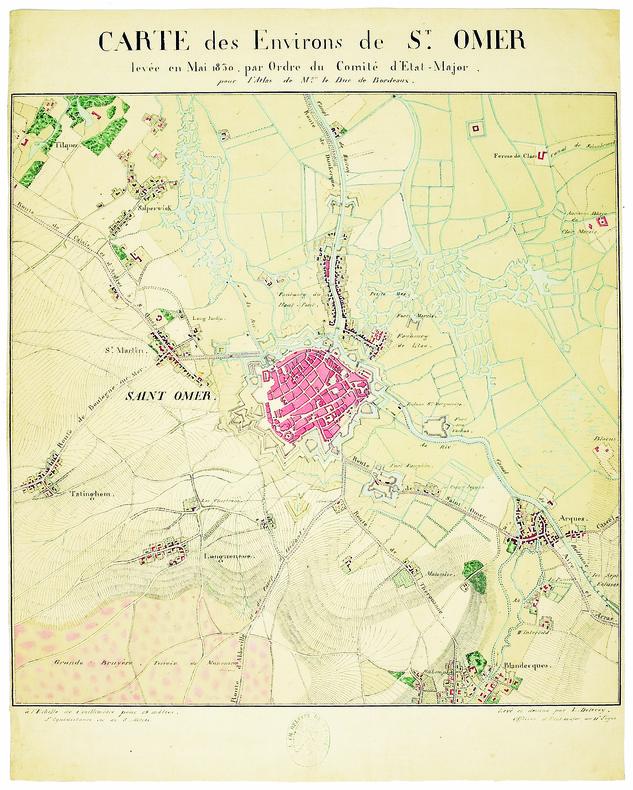 Carte des environs de St. Omer, levée en mai 1830, par ordre du comité d'État-Major, pour l'Atlas de M.gr le duc de Bordeaux.. DELÉCEY de CHANGEY ...