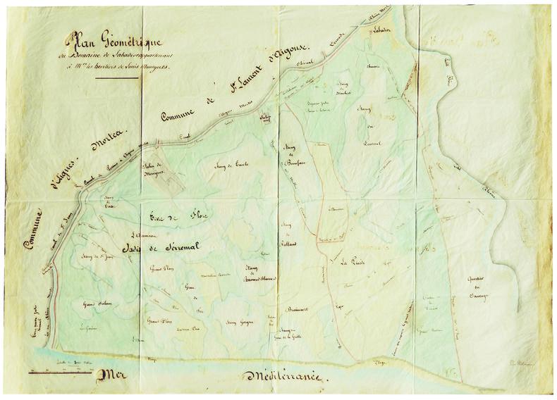 Plan géométrique du domaine de Labadier appartenant à Mrs les héritiers de Louis Mourgues.. AIGUES-MORTES. MANUSCRIT.