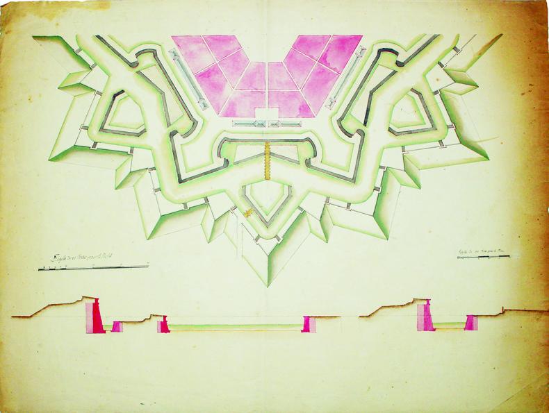 [Plan d'un d'un demi hexagone régulier].. FORTIFICATIONS. MANUSCRIT.