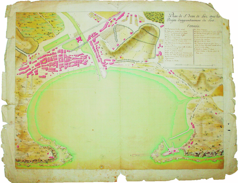 Plan de St. Jean de Luz avec les projets d'aggrandissement du port.. SAINT-JEAN-de-LUZ. MANUSCRIT.