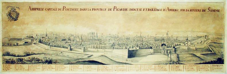 Abbeville capitale du Ponthieu, dans la province de Picardie, diocèse et baillage d'Amiens, sur la rivière de Somme.. ABBEVILLE. MANUSCRIT.