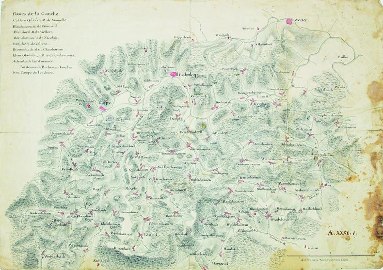 [Carte de la région du cours supérieur de la Lahn].. HESSE. MANUSCRIT.