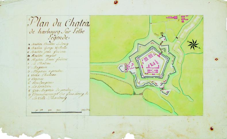 Plan du château de Harbourg sur l'Elbe.. HARBOURG. MANUSCRIT.