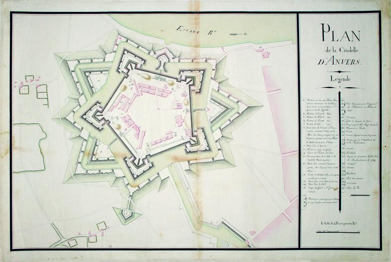 Plan de la citadelle d'Anvers.. ANVERS. MANUSCRIT.