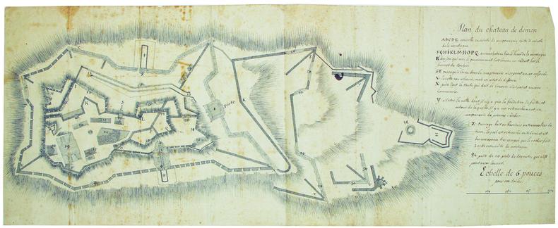 Plan du château de Démon.. DEMONTE. MANUSCRIT.