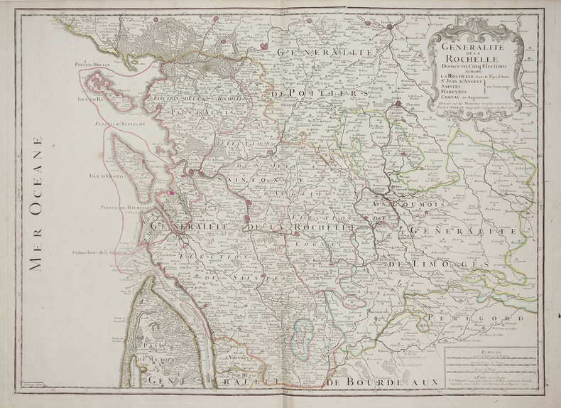 Généralité de La Rochelle divisée en cinq élections.. JAILLOT (Bernard Jean Hyacinthe).