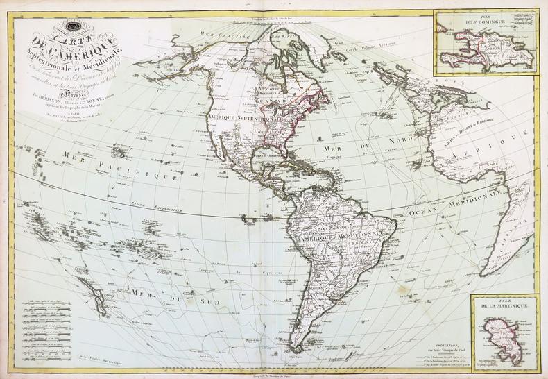 Carte de l'Amérique septentrionale et méridionale, où se trouvent les découvertes les plus nouvelles, et les trois voyages de Cook.. HERISSON ...