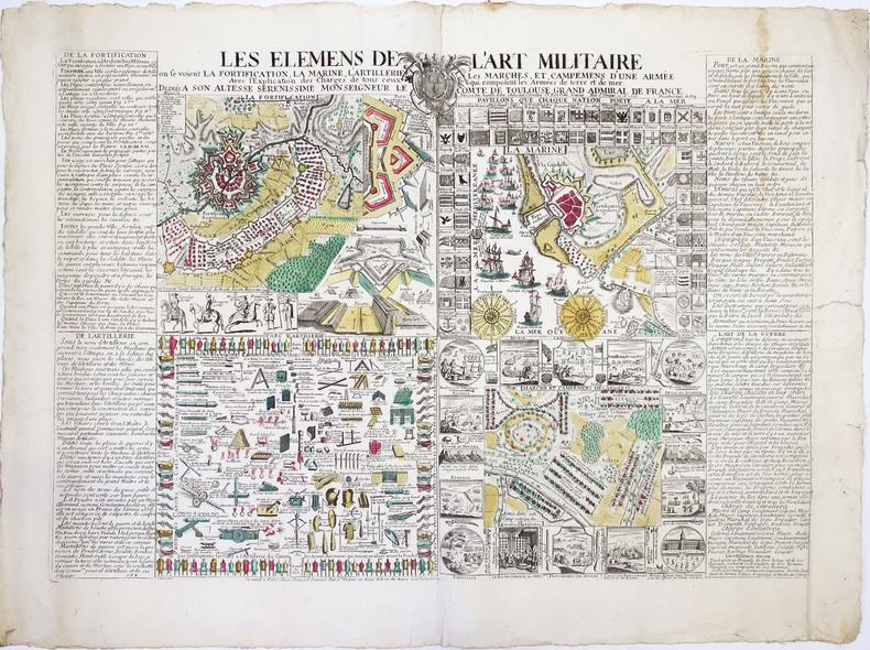 [ART MILITAIRE] Les Elémens de l'art militaire où se voient la fortification, la marine, l'artillerie, les marches, et, campemens d'une armée. Avec ...