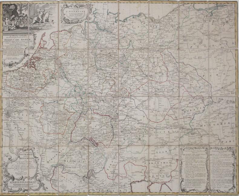 [POSTES] Nouvelle carte géographique des postes d'Allemagne - Neue und vollstændige Postkarte durch ganz Deutschland.. HOMANN (Héritiers de).