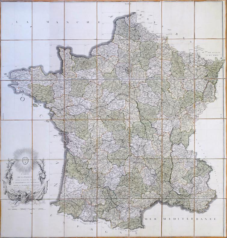 Carte de la France suivant sa nouvelle division en départements et districts. Dédiée à l'Assemblée Nationale par les directeurs et associés de la ...