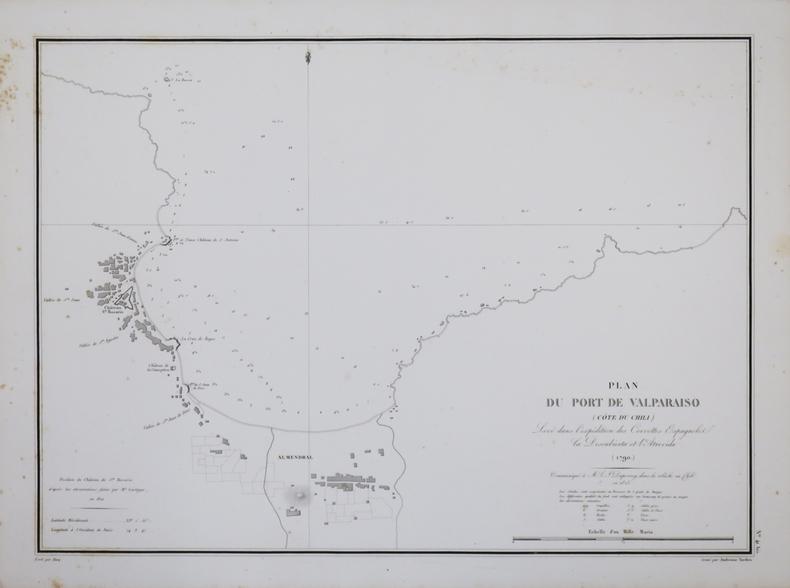 [CHILI] Plan du port de Valparaiso (côte du Chili).. DUPERREY (Louis-Isidore).
