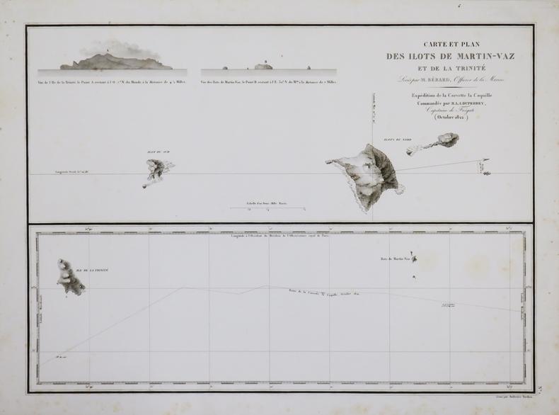 [BRÉSIL/TRINDADE et MARTIN VAZ] Carte et plan des ilôts de Martin-Vaz et de la Trinité.. DUPERREY (Louis-Isidore).