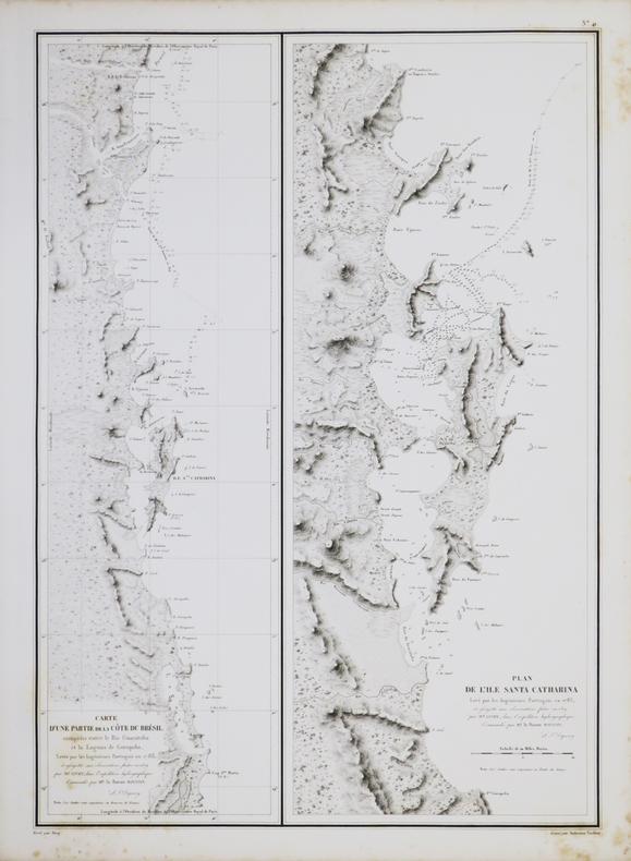 [BRÉSIL/ÎLE de SANTA CATARINA] Carte d'une partie de la côte du Brésil comprise entre le Rio Guaratuba et la Laguna de Gurupaba - Plan de l'île Santa ...