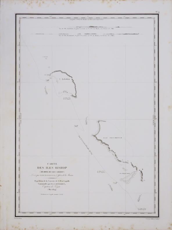 [KIRIBATI/MICRONÉSIE] Carte des îles Bishop (archipel des îles Gilbert).. DUPERREY (Louis-Isidore).