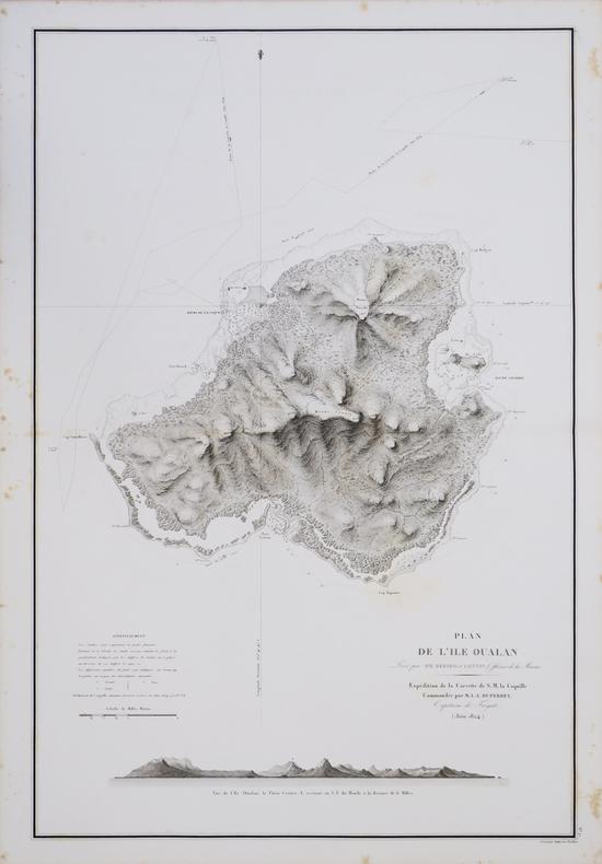 [MICRONÉSIE] Plan de l'île Oualan.. DUPERREY (Louis-Isidore).