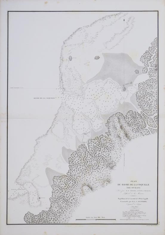 [MICRONÉSIE] Plan du havre de la Coquille (île Oualan).. DUPERREY (Louis-Isidore).