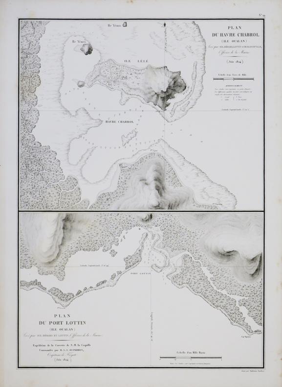 [MICRONÉSIE] Plan du havre Chabrol (île Oualan) - Plan du port Lottin (île Oualan).. DUPERREY (Louis-Isidore).