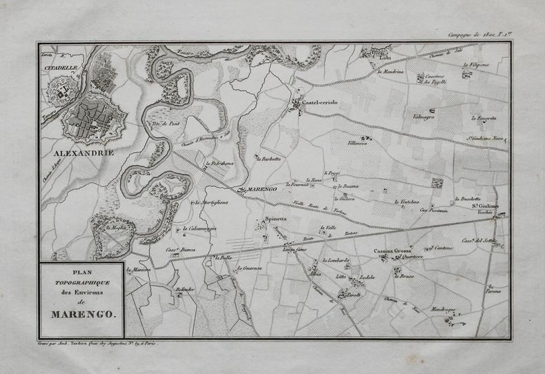 [ALEXANDRIE/BATAILLE de MARENGO] Plan topographique des environs de Marengo.. TARDIEU (Ambroise).