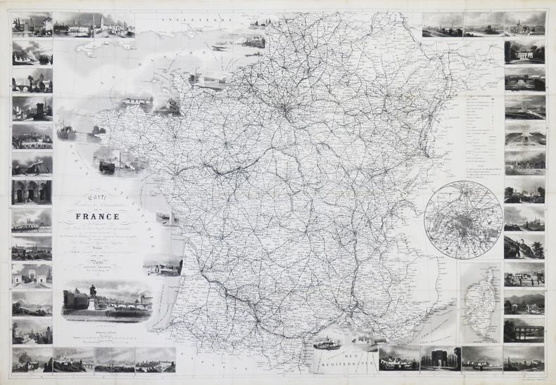 Carte routière et administrative de la France indiquant les routes de poste, royales et départementales, avec distances en kilomètres, les réseaux de ...