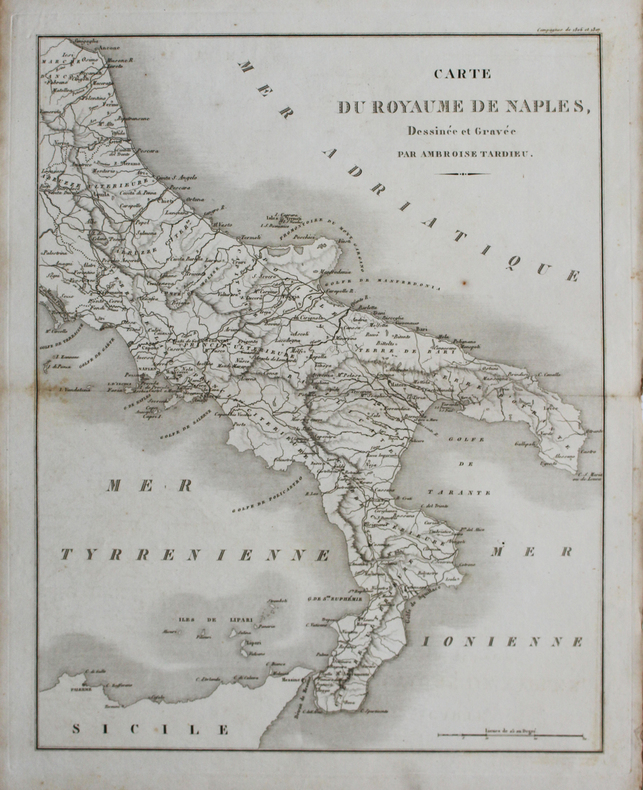 [NAPLES] Carte du Royaume de Naples.. TARDIEU (Ambroise).