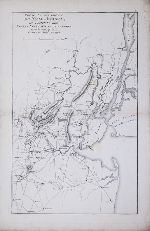 [GUERRE d'INDÉPENDANCE] Partie septentrionale du New-Jersey, et positions des armées américaine et britannique après le passage de la Rivière du Nord, ...