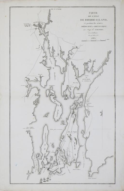 [GUERRE d'INDÉPENDANCE] Partie de l'état de Rhode-Island, et position des armées américaine et britannique, au siège de Newport, et à l'affaire du 29 ...