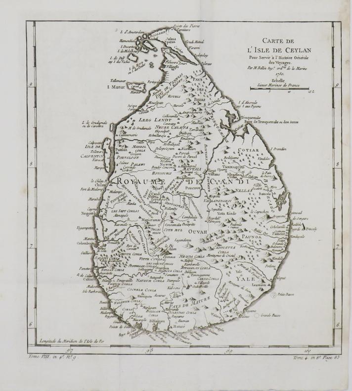 [CEYLAN/SRI LANKA] Carte de l'isle de Ceylan.. BELLIN (Jacques-Nicolas).