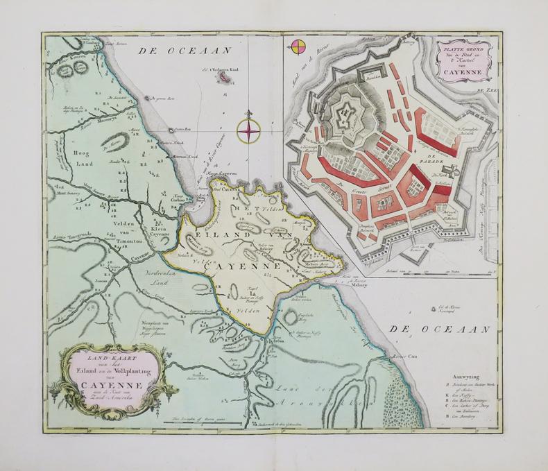 [GUYANE] Land-kaart van het eiland en de volkplanting van Cayenne aan de kust van zuid-Amerika.. TIRION (Isaak).