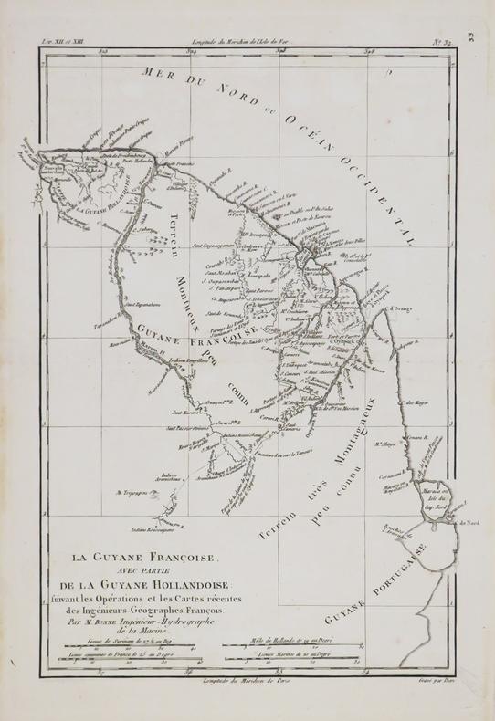[GUYANE] La Guyane Françoise, avec partie de la Guyane Hollandoise.. BONNE (Rigobert).