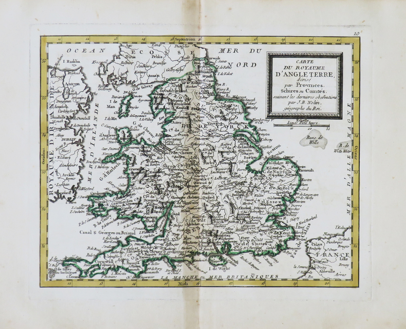 [ANGLETERRE] Carte du royaume d'Angleterre.. NOLIN (Jean-Baptiste).