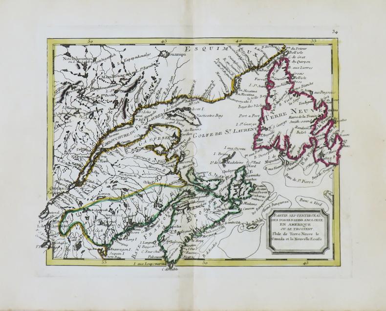 Partie septentrional des possessions angloise en Amérique où se trouvent l'isle de Terre Neuve le Canada et la Nouvelle Écosse.. NOLIN ...
