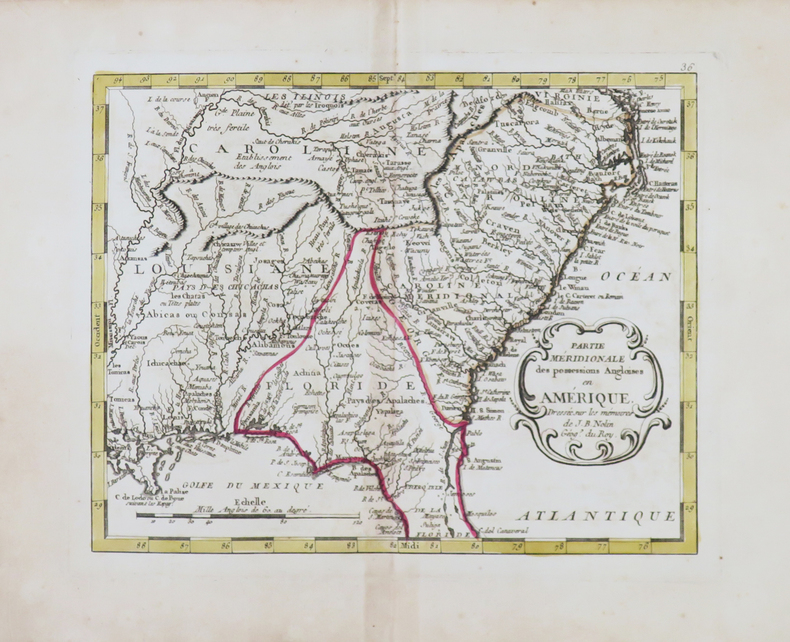 Partie méridionale des possessions angloises en Amérique.. NOLIN (Jean-Baptiste).