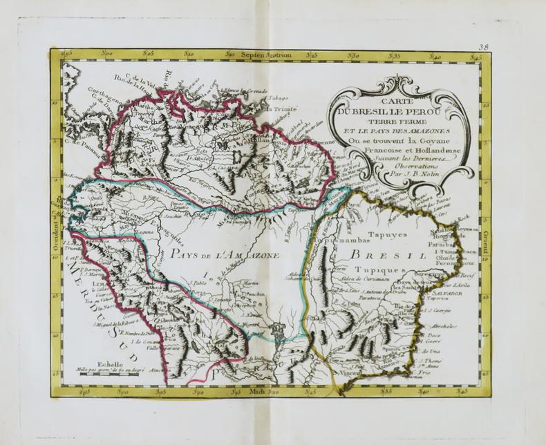 Carte du Brésil le Pérou Terre Ferme et le Pays des Amazones où se trouvent la Goyane françoise et hollandoise.. NOLIN (Jean-Baptiste).