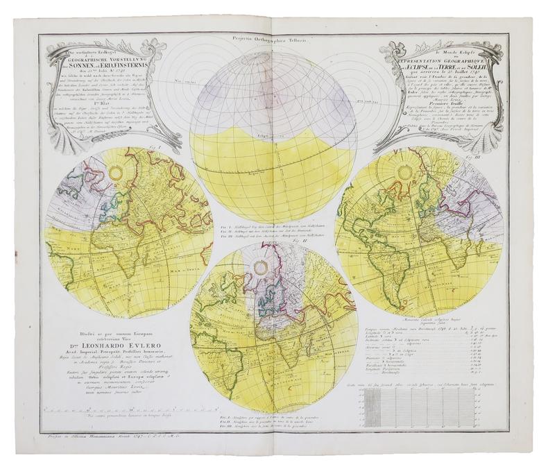 [ÉCLIPSES] Le Monde éclipsé ou représentation géographique de l'éclipse de la Terre ou du Soleil qui arrivera le 25 juillet 1748.. LOWITZ (Georg ...