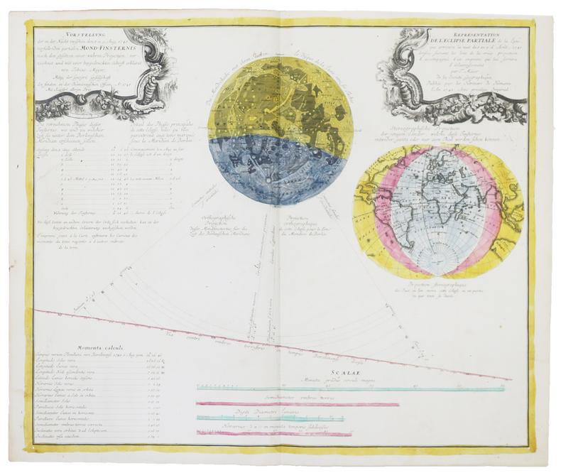 [ÉCLIPSES] Représentation de l'éclipse partiale de la Lune, qui arrivera dans la nuit du 8 au 9 d'août 1748.. MAYER (Tobias).