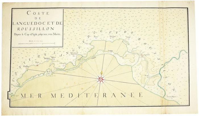 Coste de Languedoc et Roussillon, depuis le cap d'Agde jusqu'aux Trois Maries.. SÈTE. MANUSCRIT.