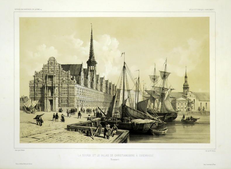 [COPENHAGUE] La Bourse et le Palais de Christiansborg à Copenhague.. GAIMARD (Joseph-Paul) & MAYER (Auguste).