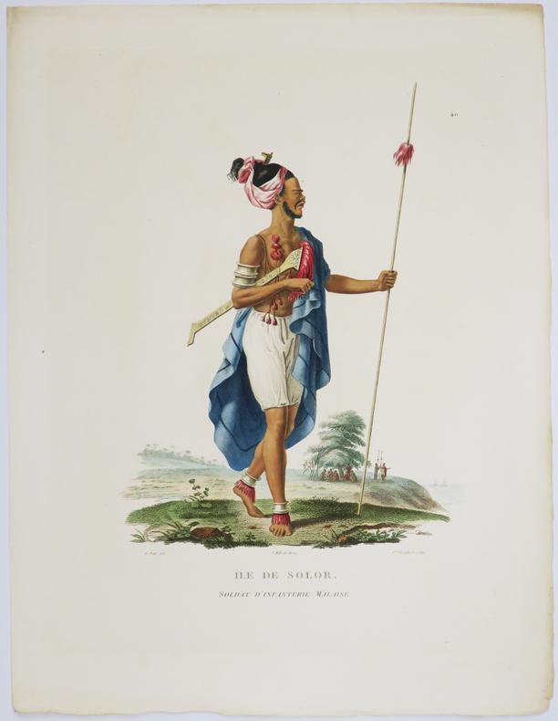[INDONÉSIE/TIMOR] Île de Solor. Soldat d'infanterie malaise.. FREYCINET (Louis-Claude Desaulses de).