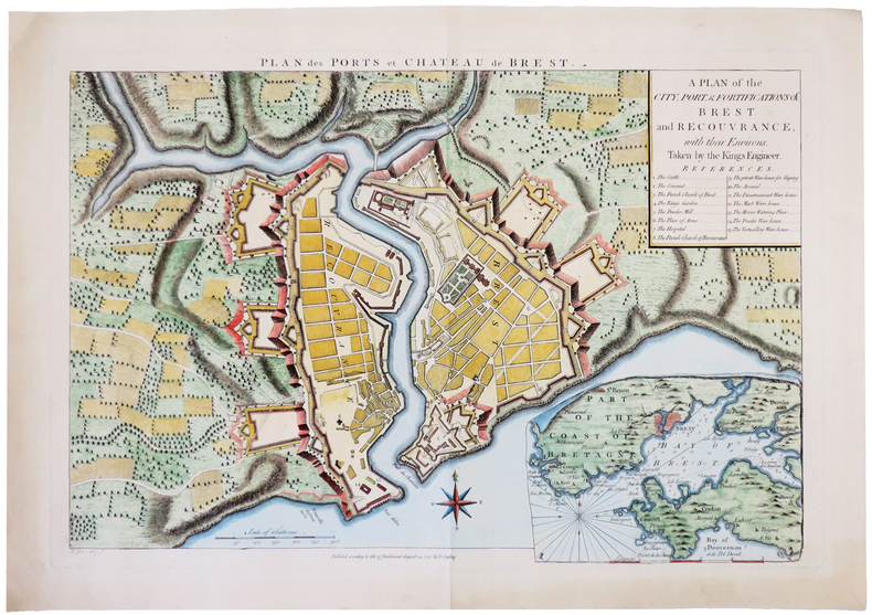 [BREST] Plan des ports et château de Brest. A plan of the city, port, & fortifications of Brest and Recouvrance, with their environs, taken by the ...