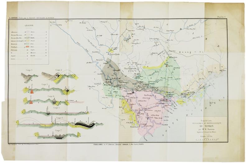 [GÉOLOGIE/TONKIN] Essai de carte géologique et minéralogique du Tonkin. . SARRAN (Émile).