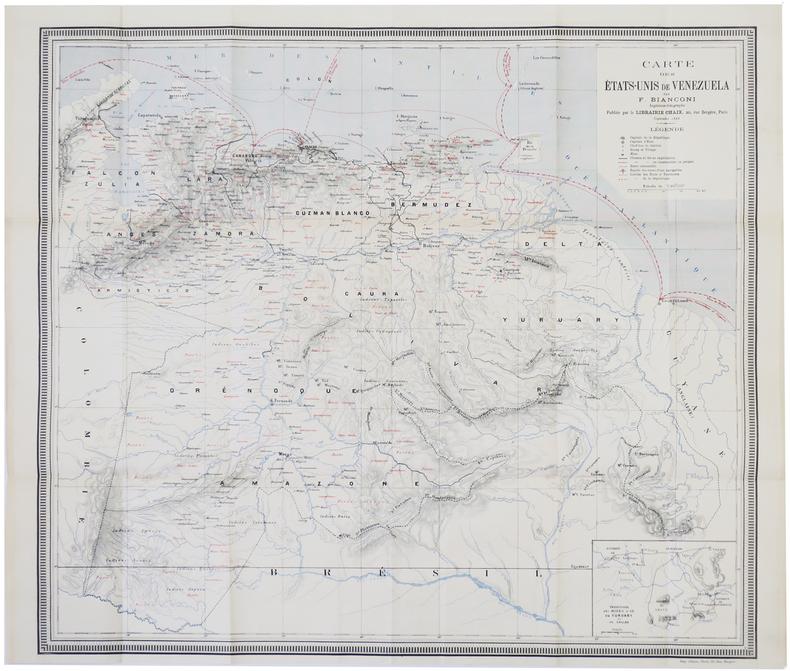 [VENEZUELA] Carte des États-Unis de Venezuela. . BIANCONI (F.).