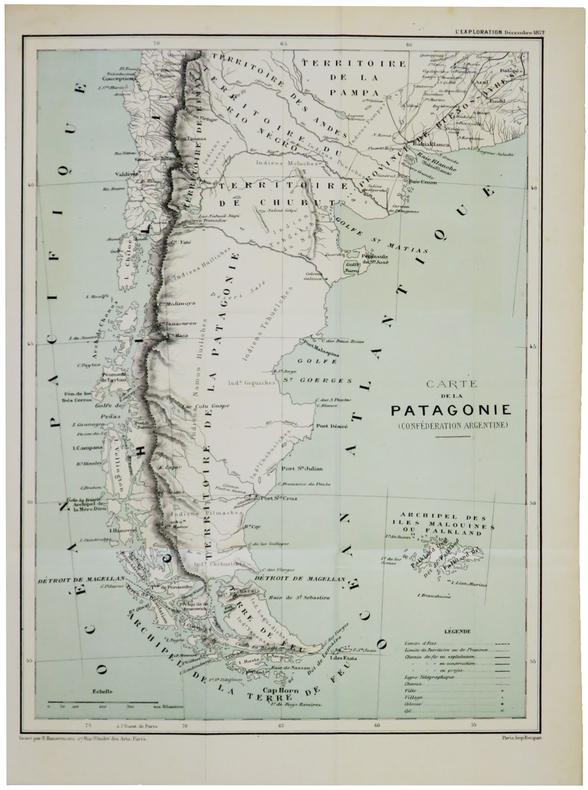 [PATAGONIE] Carte de la Patagonie (Confédération argentine). . HAUSERMANN (Rémi).
